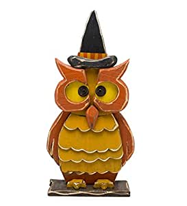 Indoor Outdoor Halloween Wooden Owl with Witch Hat Statue 11 W x 4.25 D x 21 H