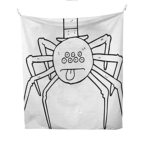 25 Home Decor Tye dye Tapestries Black and White Cartoon Halloween Spider in top hat Greatful Dead Tapestries 70W x 84L INCH