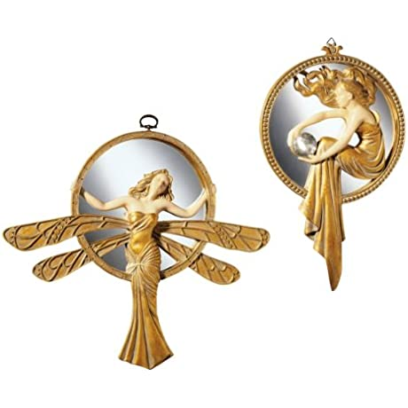 Design Toscano Art Deco Wall MirrorsSet Includes Dragonfly And Lady Of The Lake