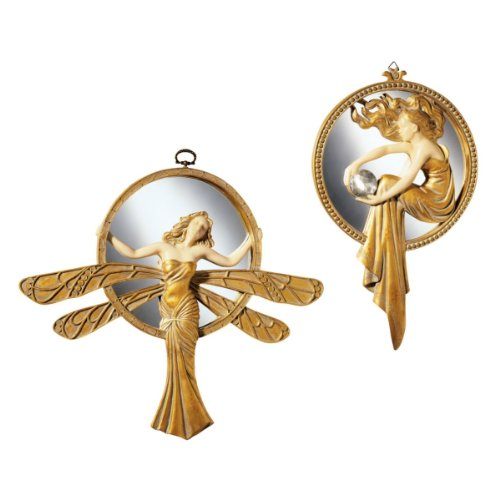 Design Toscano Art Deco Wall Mirror Sculptures, 11 Inch, Set of Two Dragonfly and Lady of the Lake, Polyresin, Gold and Ivory