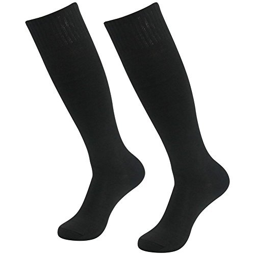 3street Unisex Cushioned Knit Cotton Sport Volleyball Soccer Compression Sock Black 2-Pairs