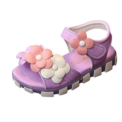 Tantisy ♣↭♣ Girls Flower Princess Sandals/Sweet Outdoor Single Shoes/Velcro Beach Shoes (Toddler/Little Kid/Big Kid) Purple