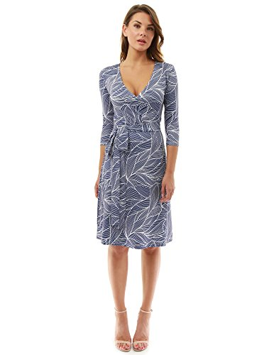 PattyBoutik Women Faux Wrap A Line Dress (Navy Blue and White10 Small)