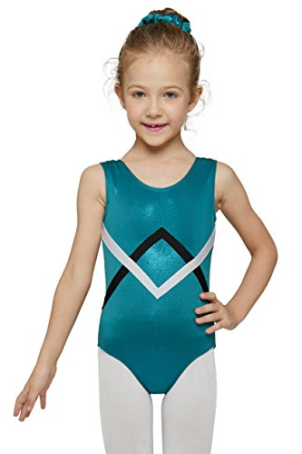 Mdnmd Gymnastics Leotard for Youth Teen with Stretchy Fabric (Dark Teal Green, Age 12-14, Tag 150)