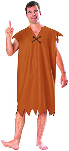 Barney Rubble Adult Costume, Brown, Standard Size (Fits up to 44 Jacket Size)