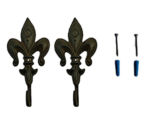 Elsies Fun Stuff Fleur De Lis Cast Iron Hooks with Screws and Anchors Set of 2
