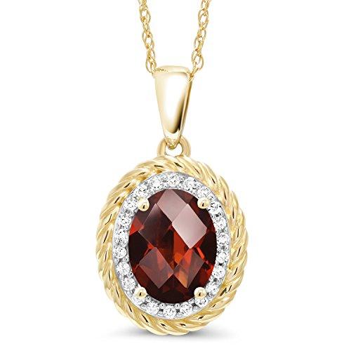 1.55 Ct Oval Checkerboard Red Garnet White Diamond 14K Yellow Gold Pendant