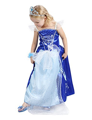 MA&BABY Little Girl's Mesh Sleeve Princess Party Dress Up Fancy Dress Costume (M/for 3-4 Years, Blue) -