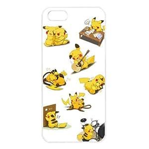 Pokemon Popular Cute Pikachu Apple iPhone 5 TPU Soft Black or White Cases (White)