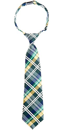 Retreez Elegant Tartan Check Woven Microfiber Pre-tied Boy's Tie - Dark Green, Yellow and Navy Blue - 24 months - 4 ()