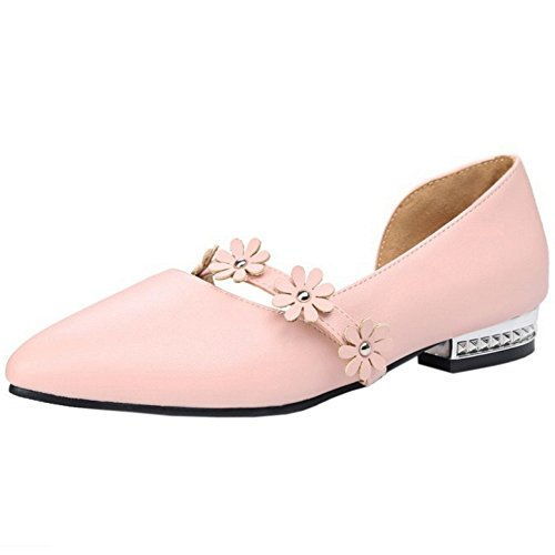 Pink With Women Flowers Toe On Heel Pumps Elegant Low Pointed Slip TAOFFEN Shoes 7wqSx4vv