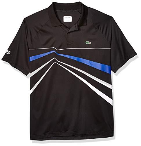 (Lacoste Men's Sport DJOVOKIC Short Sleeve Ultra Dry GEO Print Graphic Polo, Black/White/Steamer, Large)