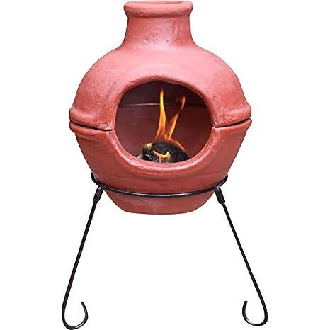 Portátil chimenea, chimenea de madera de estilo clásico hecho a mano y pintada a mano al aire libre Patio estufa Pit rojo acabado en material de alta ...