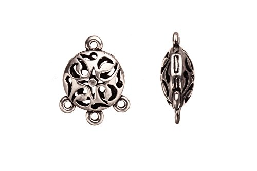 Abstract cut outs hollow round antique silver-plated connector charms 3 bottom loops 18x23mm sold per 4pcs per pack