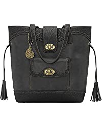 Bandana Women's By American West Guns And Roses Collection Zip-Top Bucket Bag Charcoal Grey One Size