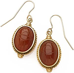 Sale - Egyptian Scarab Engraved Carnelian Earrings, From Our Museum Store Collection