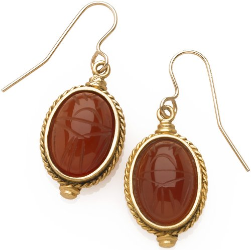 (Sale - Egyptian Scarab Engraved Carnelian Earrings, From Our Museum Store Collection)