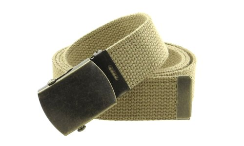 Canvas Belt (Canvas Web Belt Military Style with Antique Brass Buckle and Tip 50