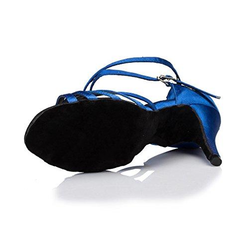 Tango Dance 5cm Satin Blue Rhinestone Women's Latin Heel 7 Party Wedding Morden Salsa Sandals Ballroom Doris Shoes vwAIRW