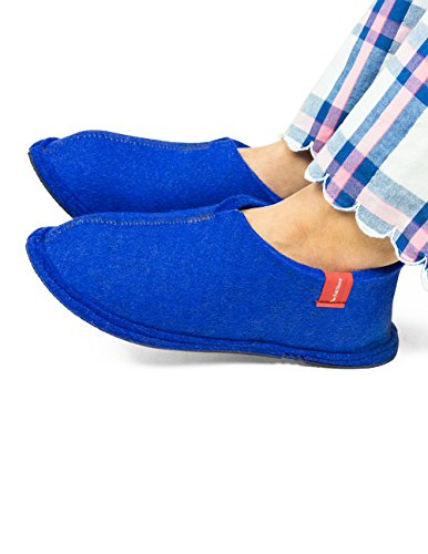 Pantofole Di Feltro, Pantofole Di Feltro, Blu Reale Con Cuciture Bianche