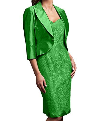 Etuikleider Brautmutterkleider Charmant Spitze Damen Promkleider Abendkleider Festlichkleider Jaket Langarm mit Grün qSSOIwEfr
