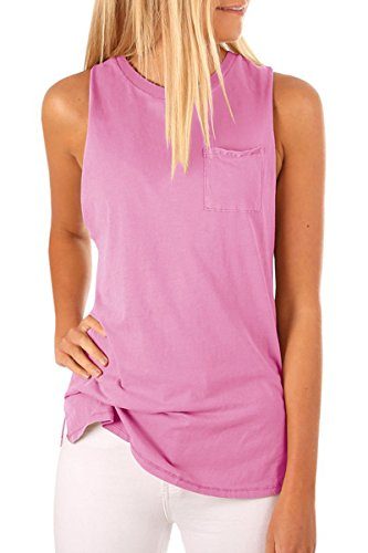 Sleeveless Crew Tee - LAICIGO Women's High Neck Tank Top Sleeveless Blouse Plain T Shirts Pocket Cami Summer Tops