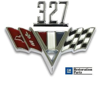 Amazon Com Classic Headquarters Chevy 327 V Flag Fender Emblem Set