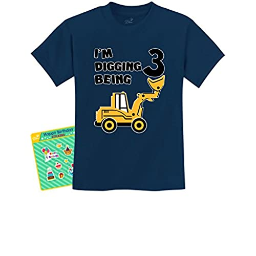 TeeStars 3rd Birthday Bulldozer Construction Party 3 Year Old Boy Toddler Kids T Shirt
