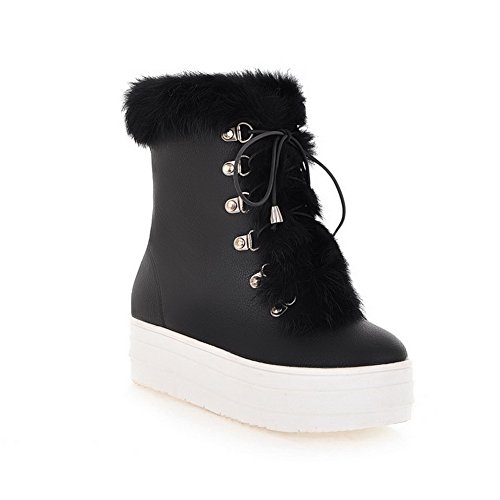 Frost Toe Solid Womens Black Round B Short US Toe with 4 AmoonyFashion Closed Platfrom Heels PU 5 Boots M Kitten Plush n8qfgpS1g
