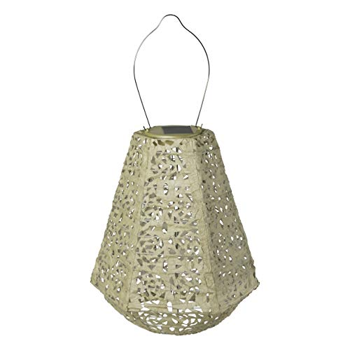 Allsop 32025 Soji Stella Prism Led Outdoor Solar Lantern, 11x10, Pearl