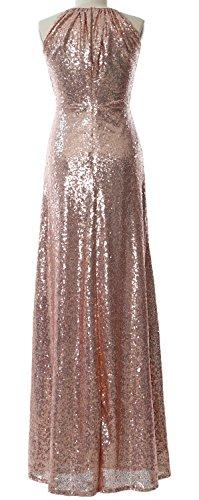 Dunkelmarine Party Women Gown Long Halter Formal Dress Bridesmaid Wedding Sequin MACloth vOa4wqw
