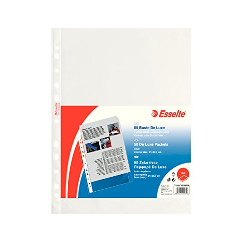 Esselte Perforated Envelopes, Copy Safe de Luxe, Transparent, Document Holder A4 PP lucido
