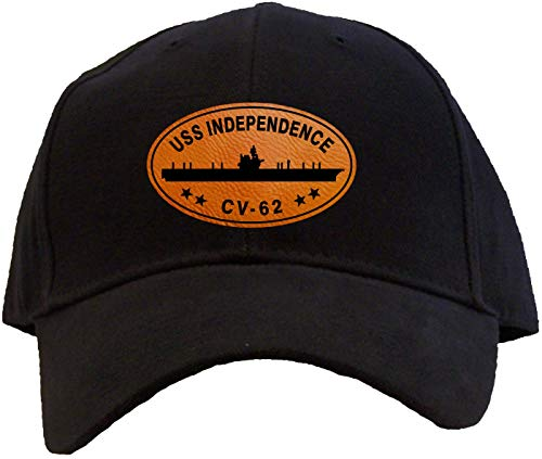 Spiffy Custom Gifts USS Independence CV-62 Leatherette Patch Baseball Cap Black