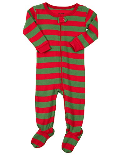 Leveret Red & Green Footed Pajama Sleeper 100% Cotton 3 (Dolly Infant Blankets)
