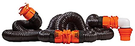 Camco RhinoFLEX 15ft RV Sewer Hose Kit, Includes Swivel Fitting and Translucent Elbow with 4-In-1 Dump Station Fitting, Storage Caps Included 39761
