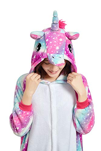 NOUSION Licorne Unisex Adult Pajamas, Cosplay Christmas Unicorn Sleepwear Onesies Outfit (M, Sky Unicorn New)