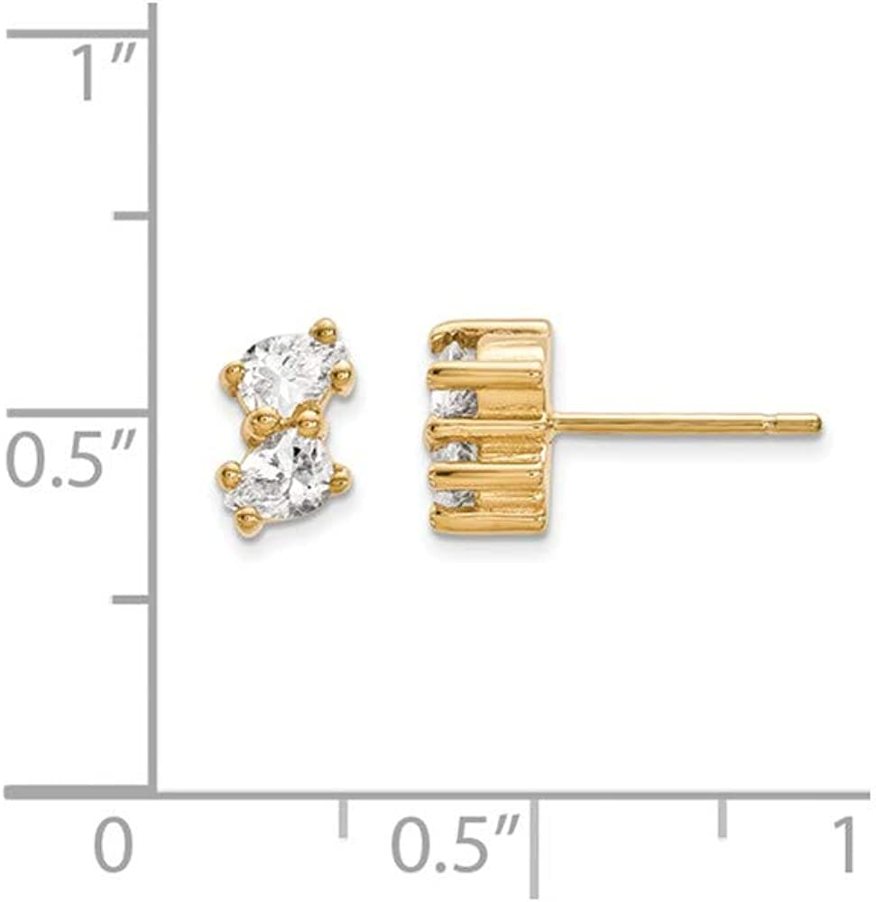 14ky Polished 2-stone Earring Mounting 4x3 mm center stones 2-Stone Earrings