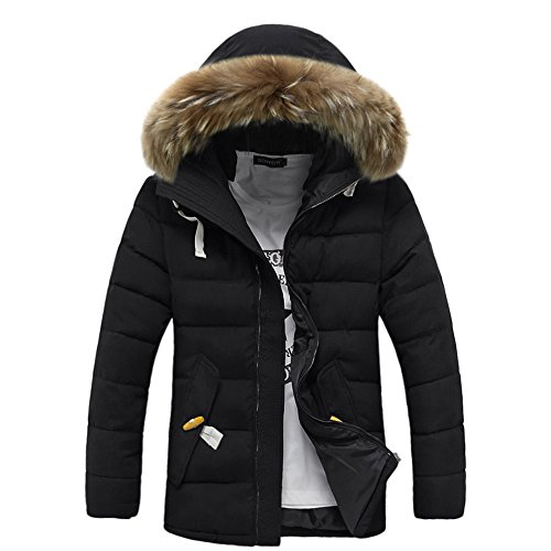 Men's Fur Hood Down Padded Coat Collar Jacket Thick Winter Coat (Woydal brand Size L, Black) by Woydal
