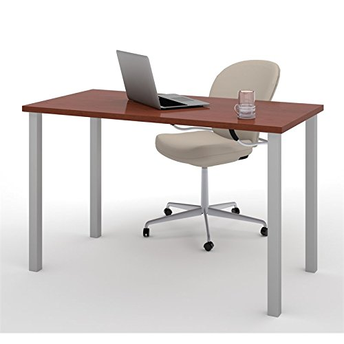 BER6585539 - Bestar 24 x 48 Table with square metal legs in Bordeaux (Bordeaux Leg Table)