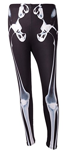 DREAGAL Womens Plus Skull Leggings Punk Tights Halloween Costume Scary Gothic XX-Large ()