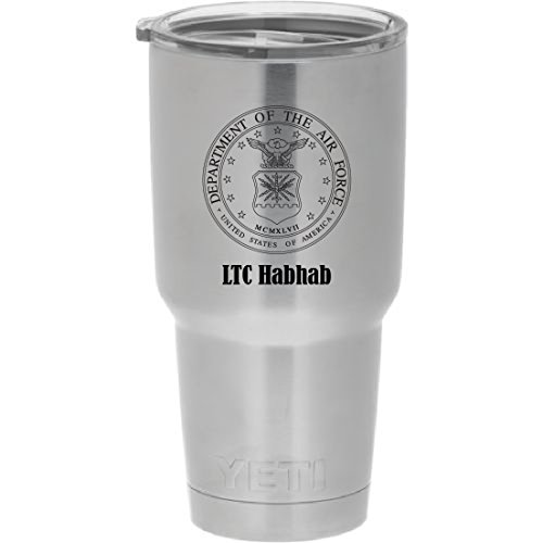 YETI Rambler Laser Engraved with US Air Force seal. Choose from YETI Water Bottle, Mug, or Colster