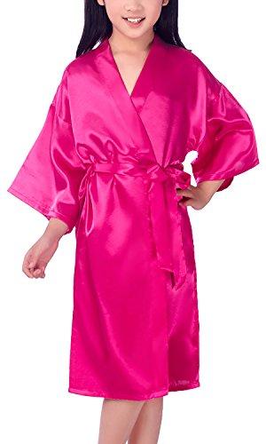 Dolamen Niños Niña Vestido Kimono Satén Camisón para Niña, Color puro Robe Albornoz Ropa de dormir Pijama Spa natación cumpleaños (Tamaño 8: Para la altura ...