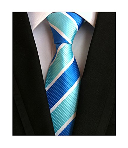 Men's Blue Turquoise Neckties Silk For Men Suit Fitness Dating Fashion Prom Ties (Chain Necktie Silk)