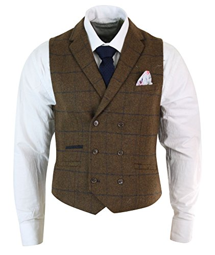 Tweed Waistcoat - Mens Double Breasted Herringbone Tweed Peaky Blinders Vintage Check Waistcoat