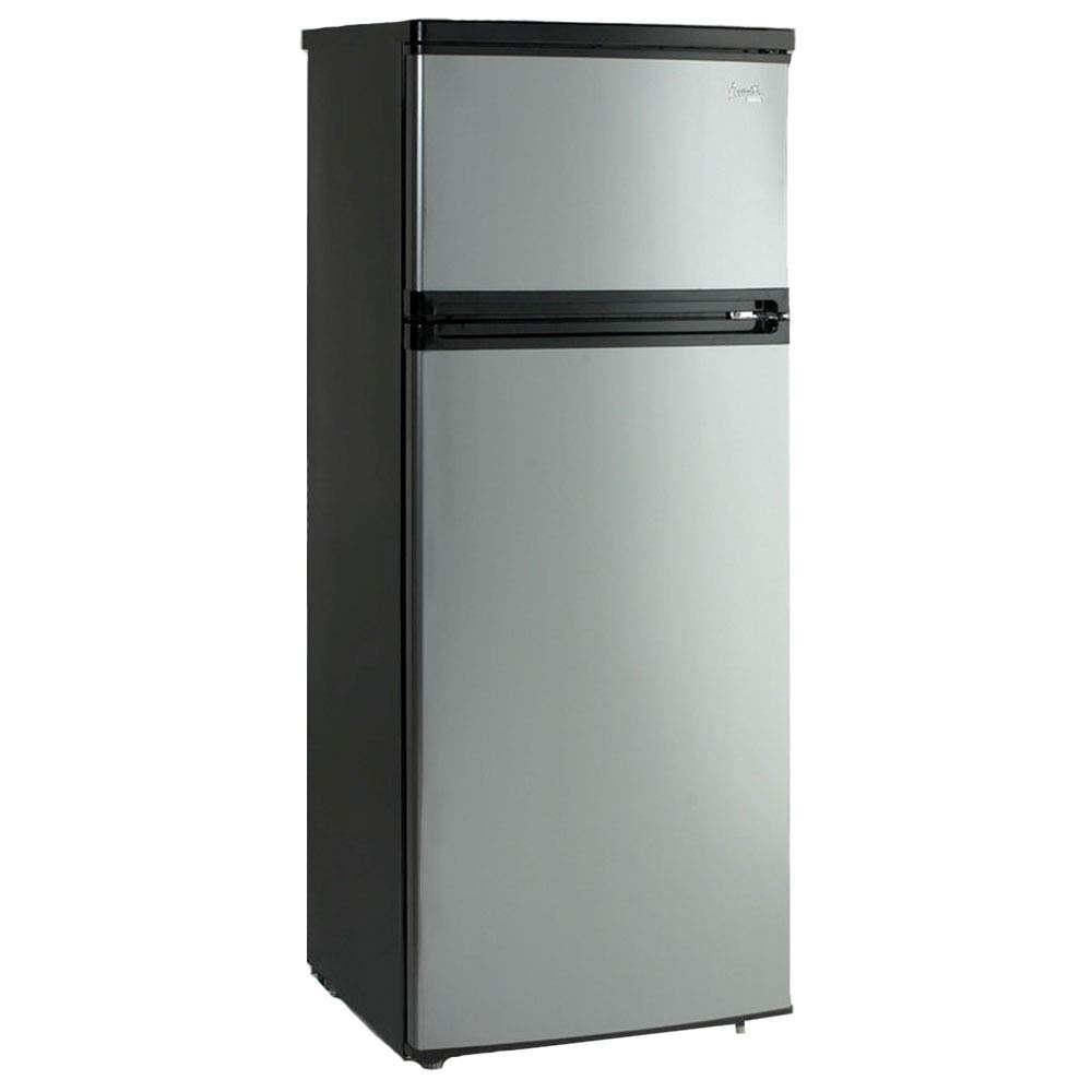 Avanti RA7316PST 2-Door Apartment Size Refrigerator, Black with Platinum Finish by Avanti