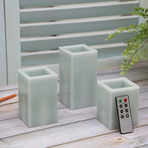 CEDAR HOME Battery Operated Flameless LED Wax Square Pillar Candle with Remote, Set of 3, Antique Teal by CEDAR HOME (Image #1)