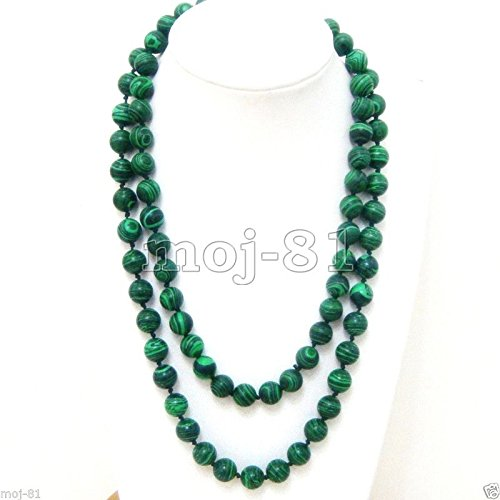 Beautiful 10mm Green Malachite Round Gemstone Beads Necklace 36