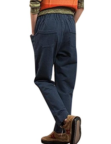 Youlee Mujer Cintura elástica Pantalón de pierna ancha con bolsillos Azul