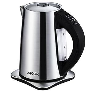 aicok bouilloire lectrique inox avec thermostat r glable de 6 niveaux bouilloire sans fil. Black Bedroom Furniture Sets. Home Design Ideas