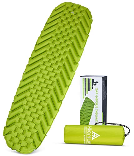 HIKENTURE Camping Pad - 2019 Edition Ultralight Sleeping Pad for Camping, Backpacking, Inflatable, Lightweight, Portable Sleeping Mat - Comfort Plus and Better Support - Green (Best Backpacking Sleeping Bag 2019)